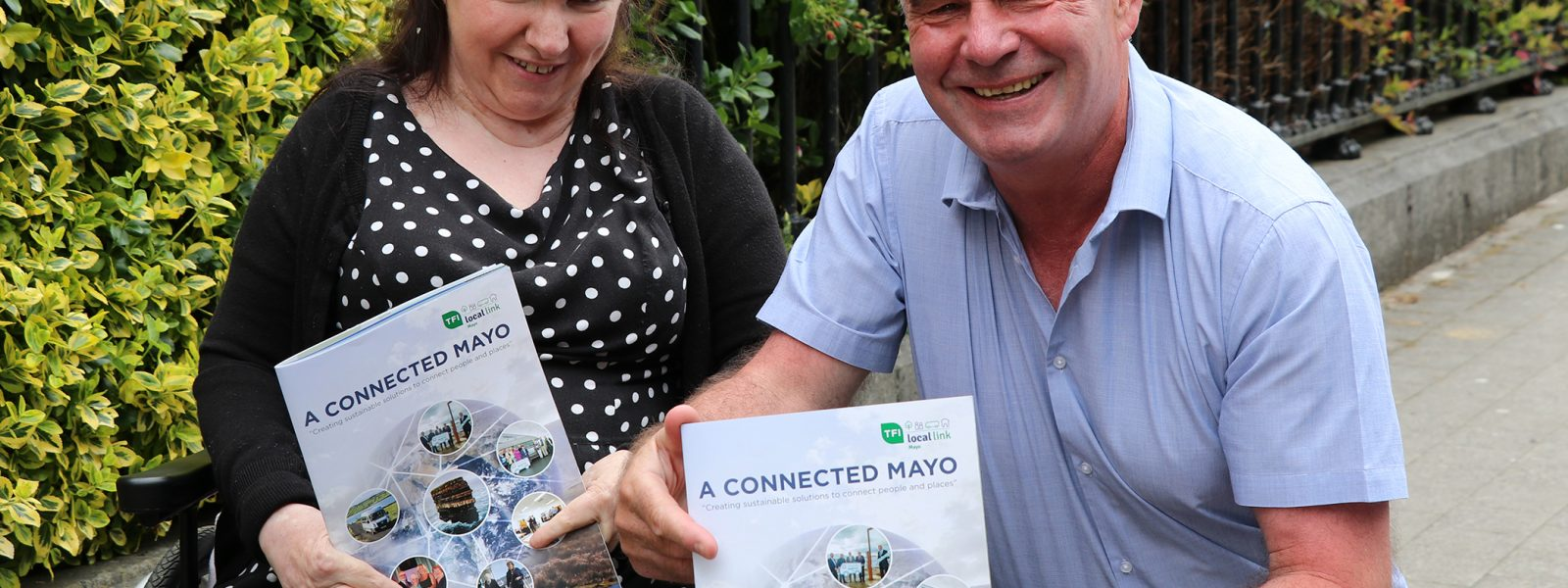 Local Link Mayo passenger and long-time disability rights advocate Ann Marie Healy pictured with businessman and entrepreneur Padraig O Ceidgh at the Local Link Mayo recent launch.